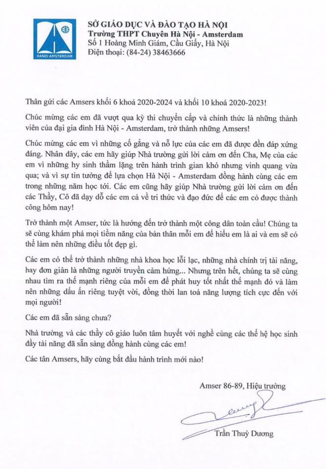 Tân hiệu trưởng trường Hà Nội - Amsterdam viết tâm thư gửi học sinh khi vừa được bổ nhiệm, nhưng phụ huynh chú ý chi tiết đặc biệt ở cuối - Ảnh 1.