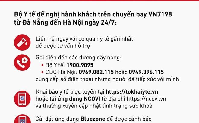 Thông báo khẩn tới hành khách trên chuyến bay VN7198 từ Đà Nẵng đến Hà Nội ngày 24/7