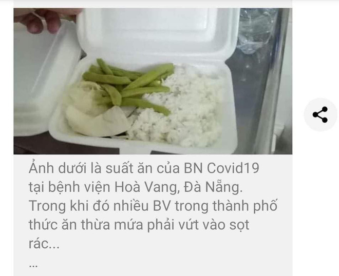 Thực hư suất ăn chỉ có rau và cơm cho bệnh nhân Covid-19 ở bệnh viện dã chiến Hoà Vang? - Ảnh 1.