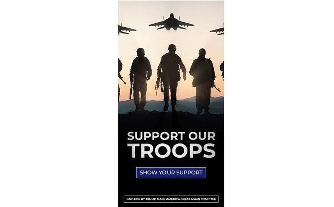 """Kêu gọi ủng hộ quân đội Mỹ, nhóm gây quỹ của TT Trump dùng nhầm hình máy bay """"đối thủ"""""""