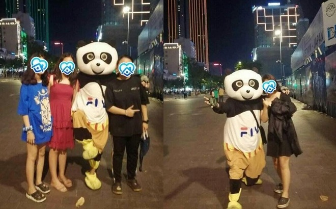 Chàng trai mặc đồ thú rủ 4 cô gái chụp hình ở phố đi bộ nhưng câu chốt hạ khiến tất cả tức anh ách