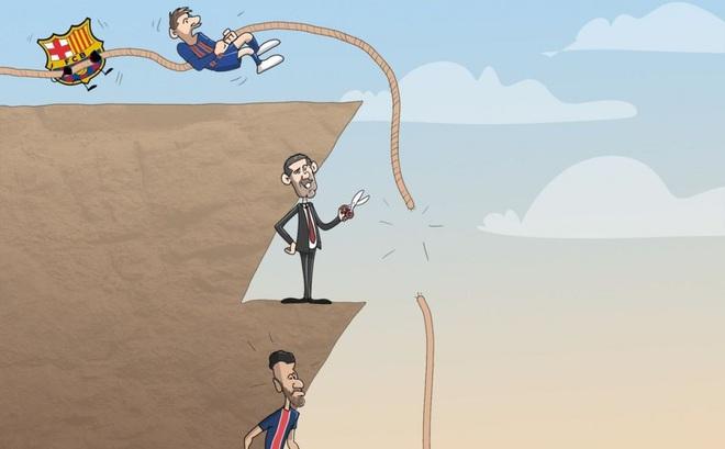 Biếm Họa 24h Messi Bất Lực Nhin Suarez Gia Nhập Atletico Madrid