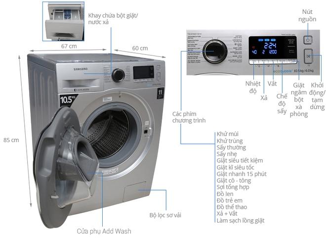 Máy giặt lồng ngang trên 14kg bay cả chục triệu, nhiều chiếc có chức năng sấy tiện lợi - Ảnh 2.