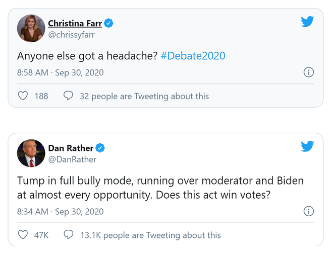Quá đau đầu: Dư luận Mỹ phản ứng về cuộc đấu khẩu không ai nhường ai của 2 ông Trump-Biden - Ảnh 2.