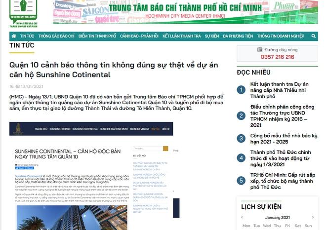 Quận 10 lần thứ 3 cảnh báo thông tin không đúng sự thật về dự án căn hộ Sunshine Cotinental - Ảnh 1.
