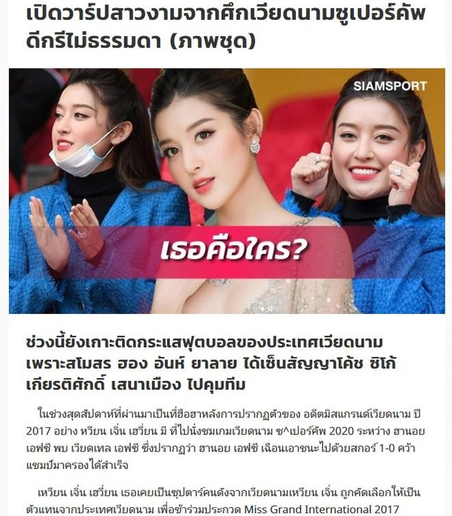 Huyền My nổi bật trên báo Thái sau khi tới sân Hàng Đẫy cổ vũ bóng đá - Ảnh 1.