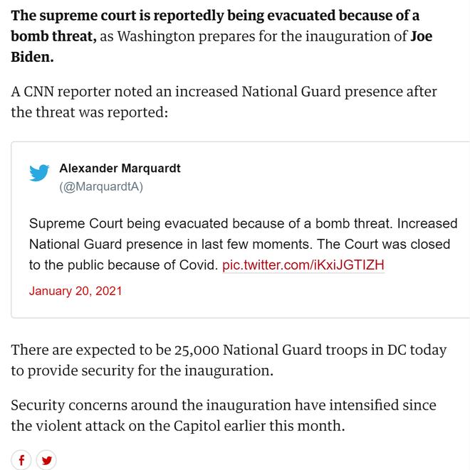 Tòa án Tối cao Mỹ bị đe dọa đánh bom ngay trước lễ nhậm chức của ông Biden - Ảnh 2.