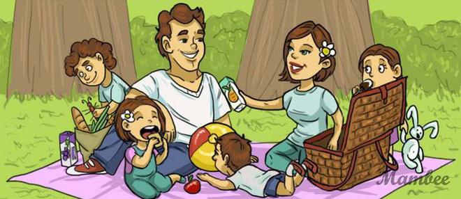 Giải đố trong 5 giây: Bạn hãy tìm ra chi tiết phi lý trong bức tranh đi picnic - Ảnh 1.