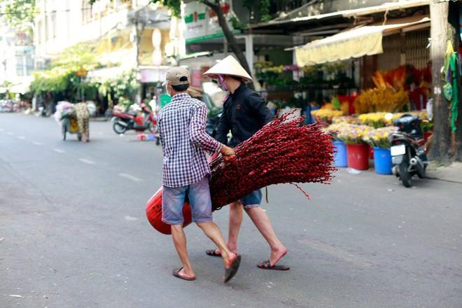 Chợ hoa đào nhuộm khoe sắc rực rỡ ở Đầm Sen - Ảnh 6.