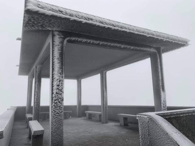 Cận cảnh băng giá phủ trắng đỉnh Mẫu Sơn, Yên Tử, Phia Oắc, du khách thích thú chụp ảnh - Ảnh 2.