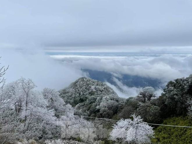 Du khách lên đỉnh Pia Oắc ngắm băng tuyết - Ảnh 1.