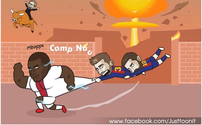 """Biếm hóa 24h: Messi và Pique bất lực trước """"máy chạy"""" Mbappe"""