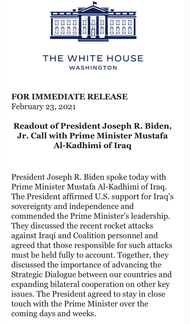 Ông Biden điện đàm nóng với Thủ tướng Iraq: Tuyên bố trừng trị thích đáng một số đối tượng - Ảnh 1.