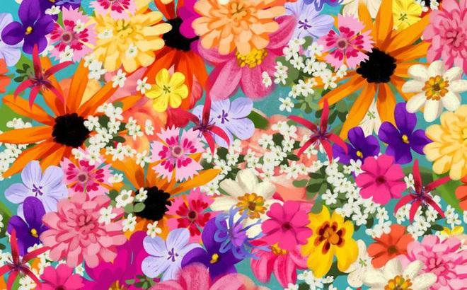 Thách thức thị giác 3 giây: Đố bạn nhìn ra con sao biển trong bụi hoa sắc màu