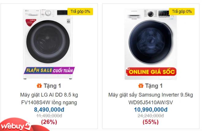 Giá máy giặt lồng ngang 8,5-9,5kg giảm sốc, dòng giặt sấy rẻ hơn 5 triệu đồng mùa nồm ẩm - Ảnh 1.