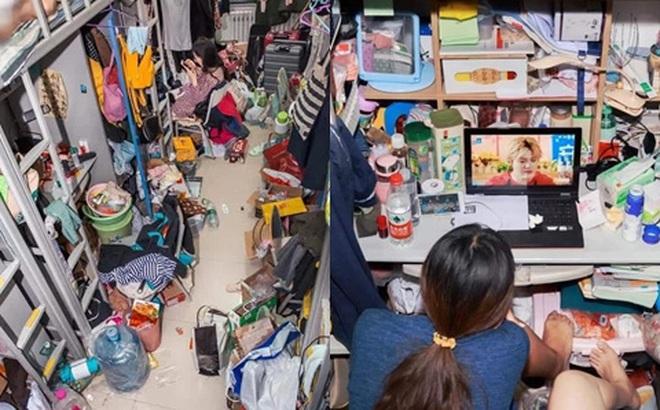 Đột nhập ký túc xá sinh viên, tá hoả với hình ảnh bừa bộn đồ đạc, rác thải chật kín lối đi
