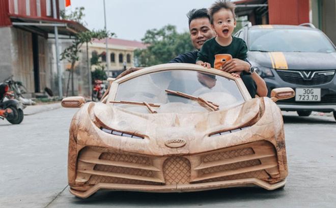 Ông bố trẻ chế tạo 'siêu xe' Bugatti Centodieci bằng gỗ tặng con trai, chiều nào cũng 'vi vu' trên đường