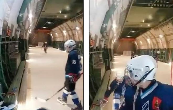 Video quân đội Nga lắp sân trượt băng trên máy bay vận tải - Ảnh 1.