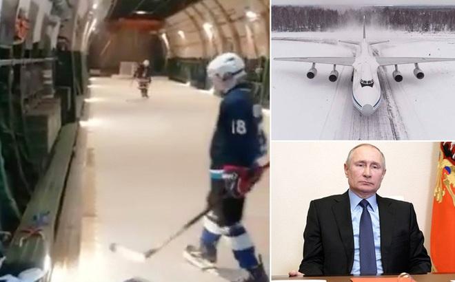 Video quân đội Nga lắp sân trượt băng trên máy bay vận tải
