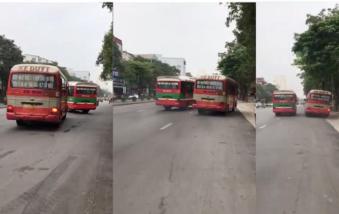 Người dân sợ hãi chứng kiến 2 xe buýt rượt đuổi, chèn ép nhau trên phố - Ảnh 2.