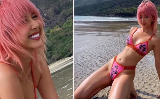 Quỳnh Anh Shyn thay hẳn 2 bộ bước vào đại chiến bikini nhưng pose hơi cồng kềnh và đau lưng thì phải
