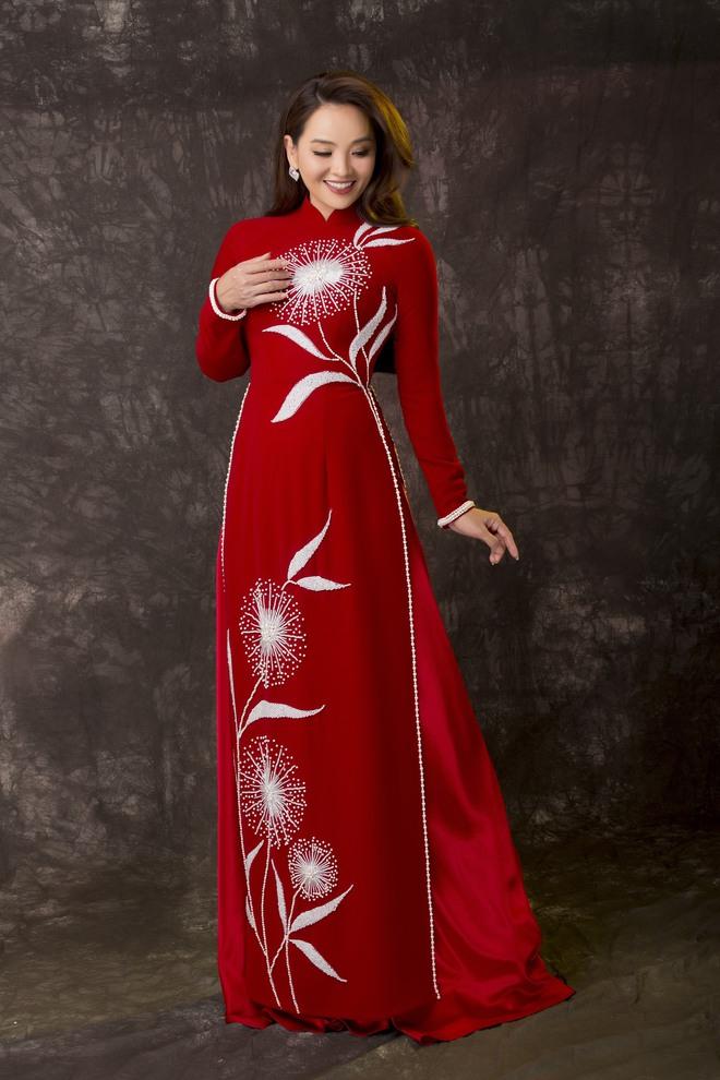 Diễn viên Hoài An quý phái với áo dài NTK Minh Châu - Ảnh 1.