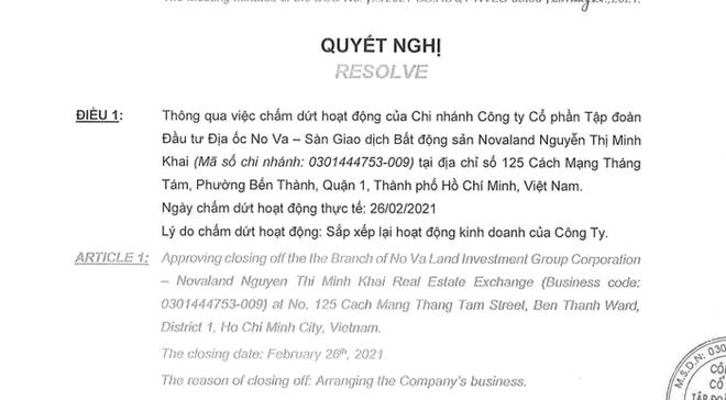 Novaland đóng cửa sàn môi giới Nguyễn Thị Minh Khai - Ảnh 1.
