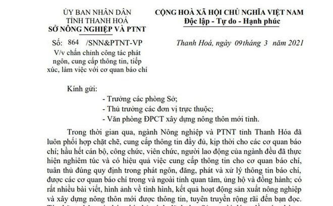 """Sau phát ngôn """"sốc"""" của Chi cục trưởng, Giám đốc Sở NN-PTNT ra văn bản chấn chỉnh"""