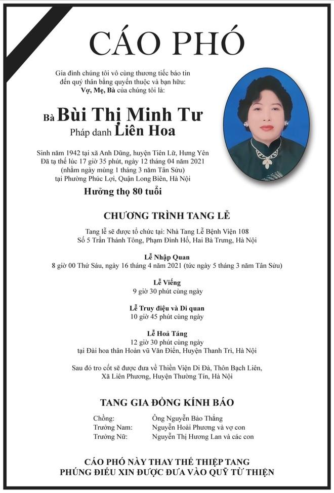 Việt Hương nghẹn ngào báo tin buồn: Con chào mẹ, cảm ơn mẹ đã yêu con - Ảnh 1.