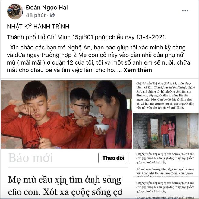Ông Đoàn Ngọc Hải muốn khẩn trương giúp mẹ con người phụ nữ mù đáng thương ở Nghệ An, cứu đôi mắt cháu bé - Ảnh 1.