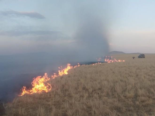 Thảo nguyên bùng cháy ngùn ngụt ở Mông Cổ hóa rồng lửa tấn công Trung Quốc - Ảnh 1.