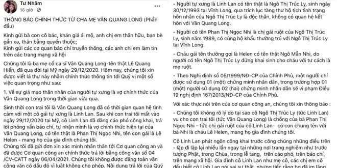 Cha mẹ Vân Quang Long công khai mục đích sử dụng tiền phúng điếu, xin trả nợ cho con trai - Ảnh 1.