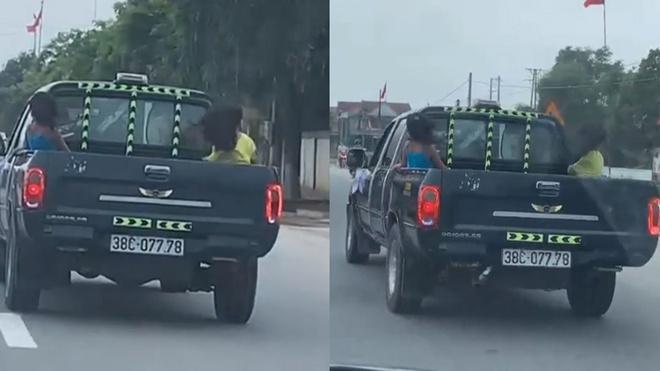 Vụ xe bán tải chở 3 cháu nhỏ sau thùng, chạy với tốc độ 90km/h: CSGT tỉnh Hà Tĩnh nói gì? - Ảnh 1.