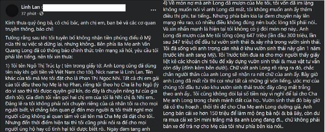 Bị bố mẹ Vân Quang Long nhờ công an xác minh nhân thân, vợ 2 lên tiếng làm rõ, tiết lộ bất ngờ - Ảnh 1.