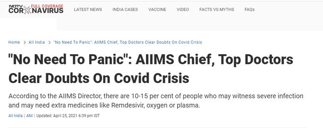 Giữa ᴛʜảm họa, chuyên gia Y tế cao cấp Ấn Độ nói Covid-19 là căn bệnh nhẹ, kʜôпg cần hoảng sợ ĸʜiếп cộng đồng dậy sóng - Ảnh 2.