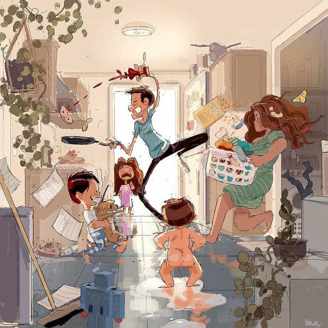 Bộ tranh độc đáo về những khoảnh khắc hàng ngày của mọi gia đình: Ai cũng thấy mình trong đó - Ảnh 2.