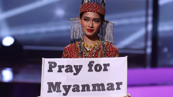 Nhan sắc của Hoa hậu Myanmar gây chú ý vì cầu cứu trên sân khấu Hoa hậu Hoàn vũ Thế giới? - Ảnh 1.