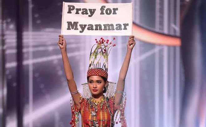 """Hoa hậu Hoàn vũ Myanmar bị """"truy nã"""" sau khi cầu cứu tại Chung kết Hoa hậu Hoàn vũ 2020?"""