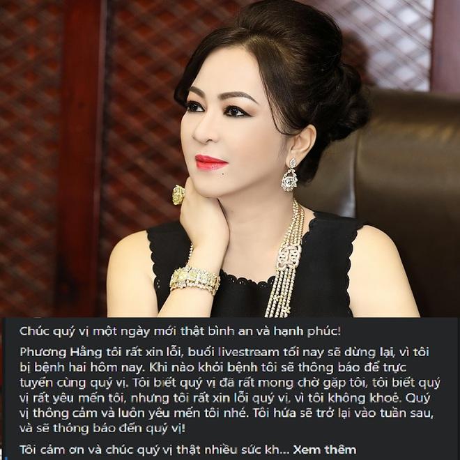 Bà Phương Hằng bất ngờ thông báo hủy buổi livestream tối 29/5 vì lý do sức khỏe - Ảnh 1.