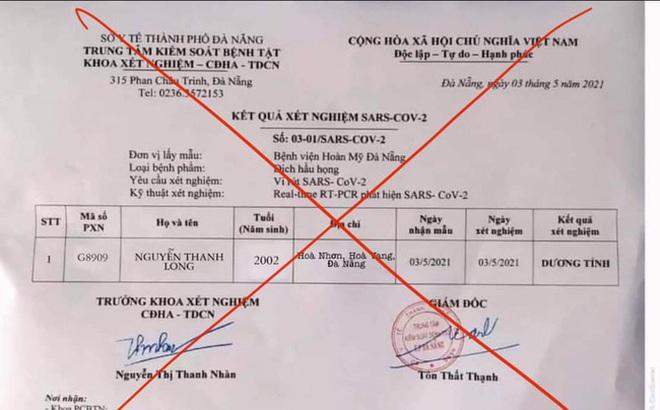Chủ tiệm sửa điện thoại ở Đà Nẵng tung kết quả xét nghiệm Covid-19 giả lên mạng xã hội