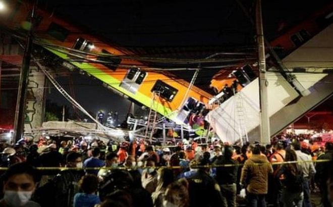 Khoảnh khắc cầu metro ở Mexico đổ sập xuồng đường, gần 100 người thương vong