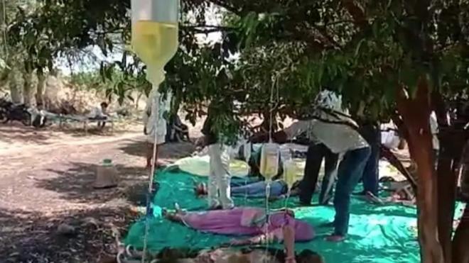 Bệnh nhân COVID-19 nằm dưới tán cây, chai dịch treo trên cành  - Ảnh 2.