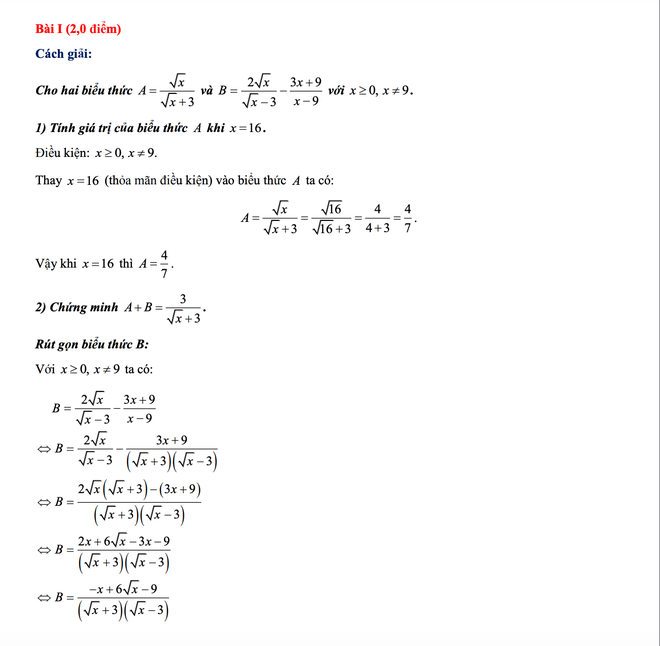 [CẬP NHẬT] Gợi ý đáp án môn Toán kỳ thi vào lớp 10 năm 2021 ở Hà Nội - Ảnh 2.