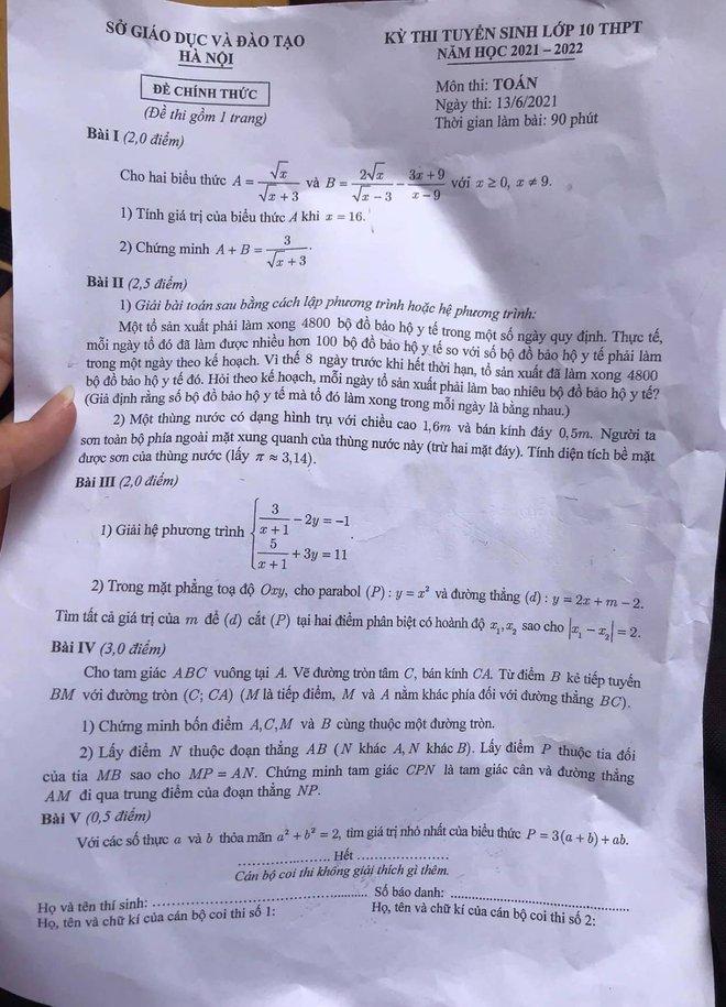 [CẬP NHẬT] Gợi ý đáp án môn Toán kỳ thi vào lớp 10 năm 2021 ở Hà Nội - Ảnh 1.