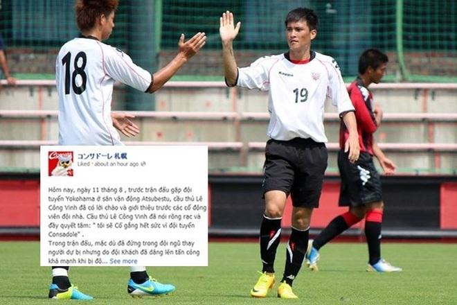 Fanpage Sapporo ca ngợi Công Vinh bằng Tiếng Việt sau 2 bàn thắng