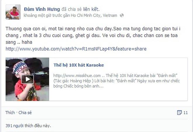 Đàm Vĩnh Hưng phấn khích với clip cậu bé 10X cover ca khúc của mình