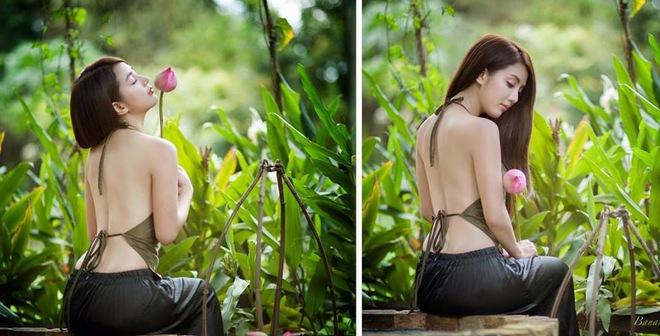 Thiếu nữ áo yếm khoe lưng trần gợi cảm