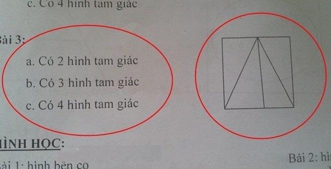 Bài toán lớp 3 đếm số hình tam giác gây tranh cãi