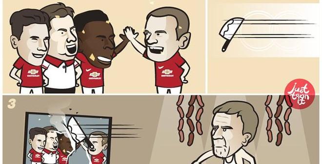 Moyes giận dữ lấy dao băm vằm ảnh Man United