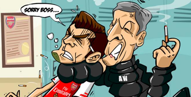 """Ảnh chế: Jack Wilshere bị Wenger cho """"ăn đập"""""""